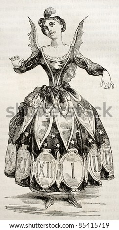 Hours costume old illustration. By unidentified author, published on Magasin pittoresque, Paris, 1842 - stock photo