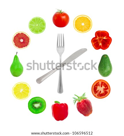 Hours from fruit on a white background