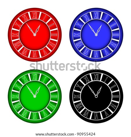 Hours of different color on a white background. EPS version is available as ID 88536892.