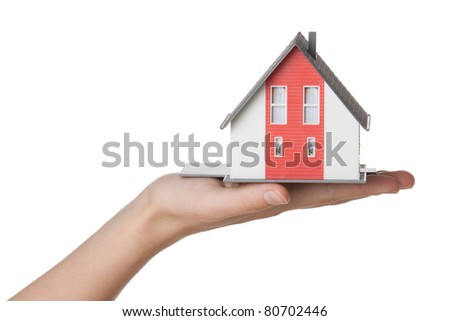 House agent offer new house represented by model against white background