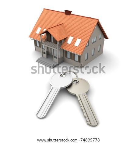 House and a pair of Keys. 3D rendered Illustration. Isolated on white.