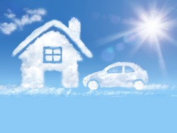 House  and car  of clouds in the blue sky and shining sun