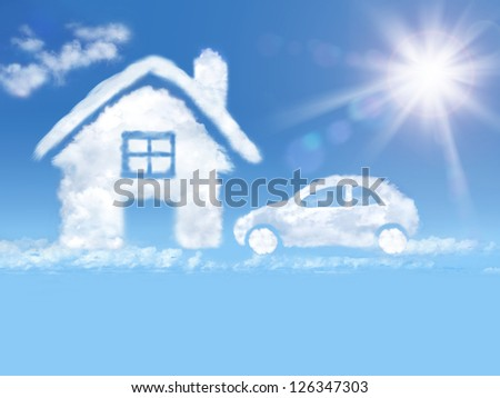house  and car  of clouds in...
