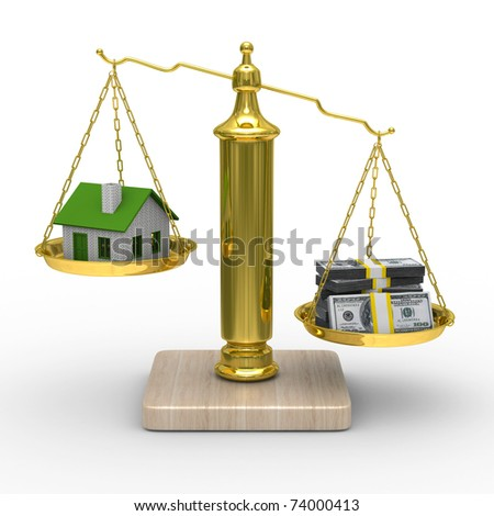 house and cashes on scales. Isolated 3D image