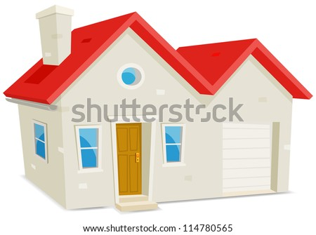 House And Garage/ Illustration of a cartoon domestic house exterior with garage on white background