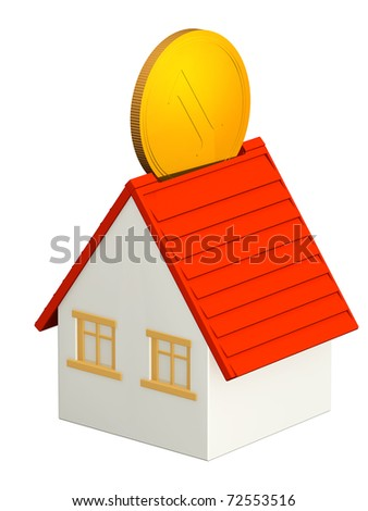 House and gold coin. Isolated over white