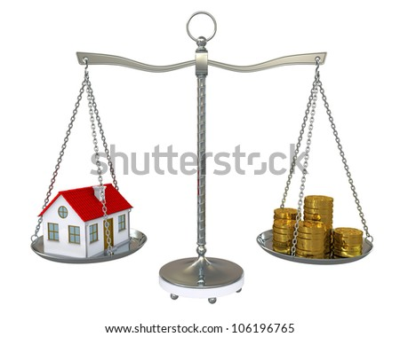 House and gold coins on the scale. Isolated on white background