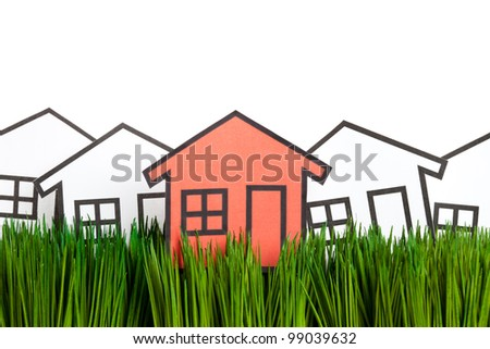 House and green grass close up, concept of Environmental Conservation