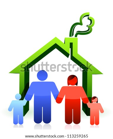 House and happy family illustration design over white - stock photo