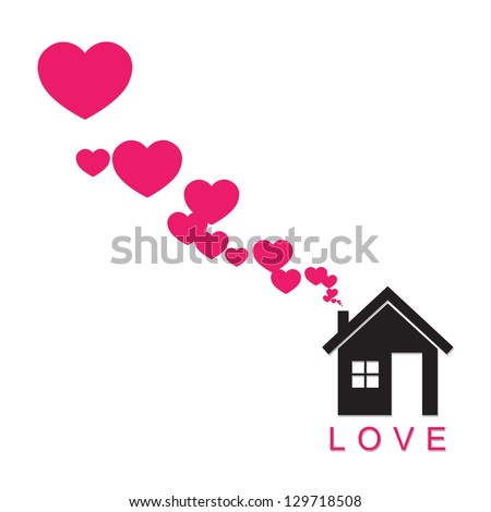 House and hearts instead of smoke rising from the chimney Abstract illustration. Raster version.