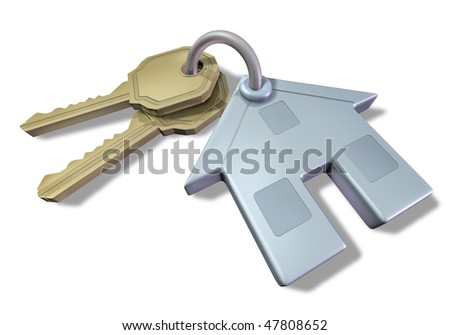 house and keys isolated on white - stock photo