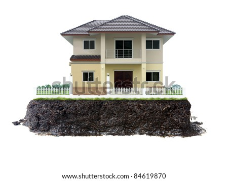 house and land isolated on white