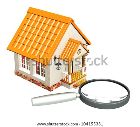 House and loupe. Isolated over white