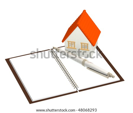 House and notebook - isolated over white - stock photo