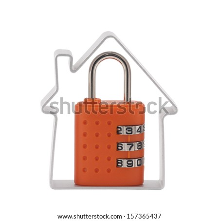 House and orange combination padlock with clipping path