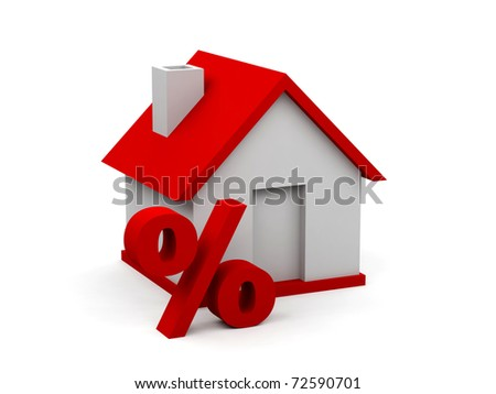 House and percent symbol on white.