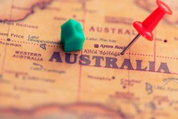 House and pushpin on Australia part of world map. Real estate in Australia concept.