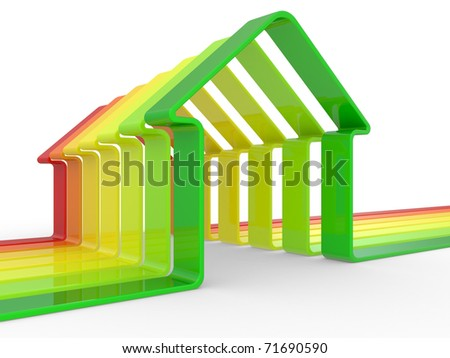 house and scale Energy efficiency concept on a  white background