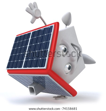 House and solar panels - stock photo