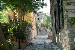 House and street view of Doganbey village, famous for its historical and nostalgic houses. Soke, Aydin province, Turkey