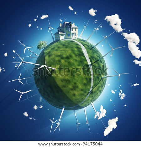 house and wind turbine on green planet