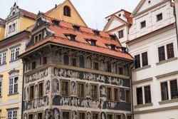 House at the Minute or Dum U Minuty in Czech, on Old Town Square in Prague, Franz Kafka home in Czech Republic with Old Renaissance Sgraffitto Mural Paintings
