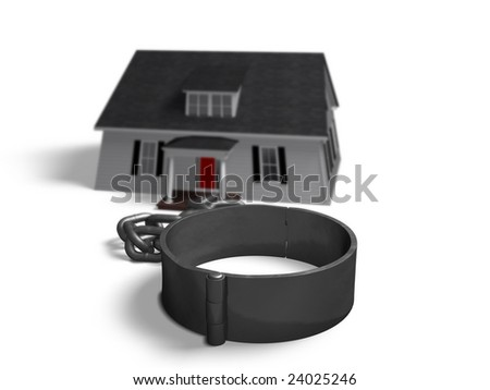 House attached to a chain and shackle with depth of field effect.