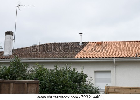 House before and after dirty roof facade wash #793214401