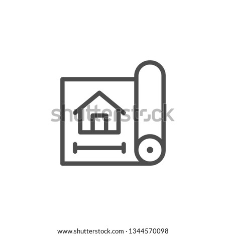 House blueprint line icon isolated on white