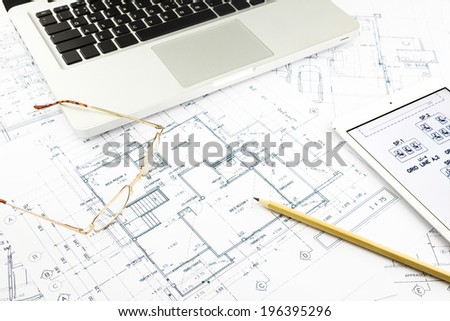 house blueprints and floor plan with notebook, architecture business concepts and ideas