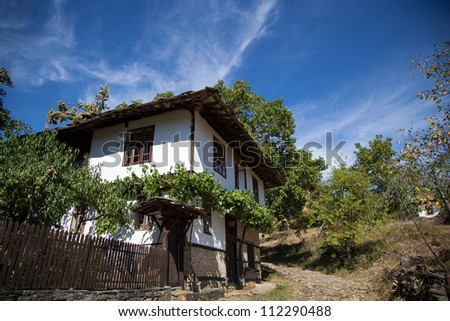 House built in old, traditional, Bulgarian style.