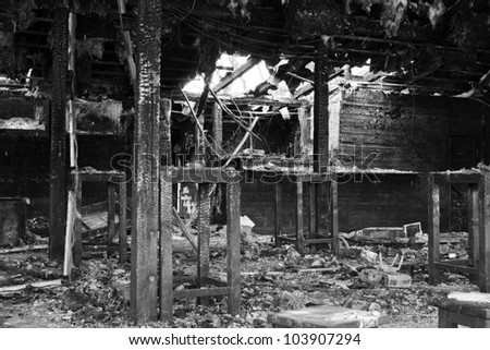 House burnt down - stock photo