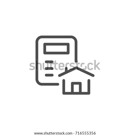House calculation line icon isolated on white