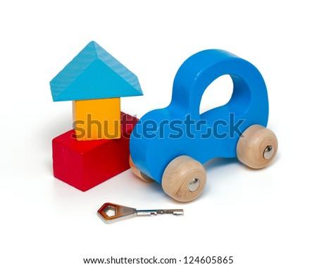 house, car and key isolated on white background #124605865
