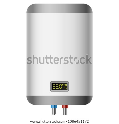 House central heating boiler mockup. Realistic illustration of house central heating boiler mockup for web