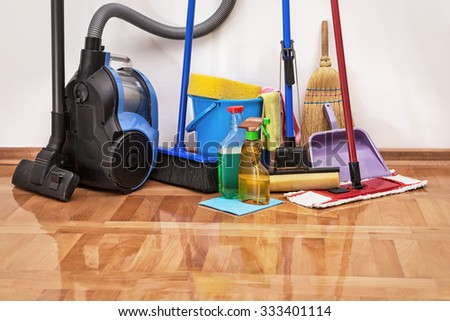 الصفرات لتنظيف الفلل بالرياض 0563238725 Stock-photo-house-cleaning-cleaning-accessories-on-floor-room-333401114
