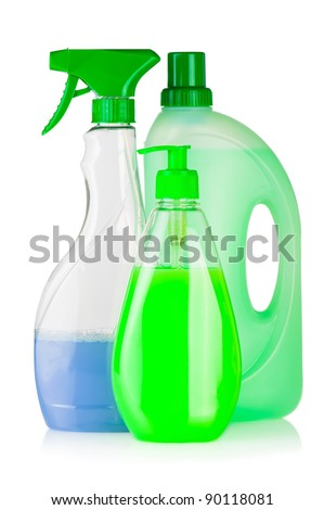 House cleaning product. Plastic bottles with detergent and liquid soap isolated on white background