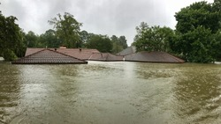 House completely flooded from Hurricane Harvey 2017, in Spring Texas a couple miles north of Houston off East Cypresswood  Drive.
