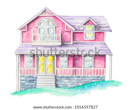 House, cottage on an green lawn isolated on white background. Watercolor hand drawn illustration