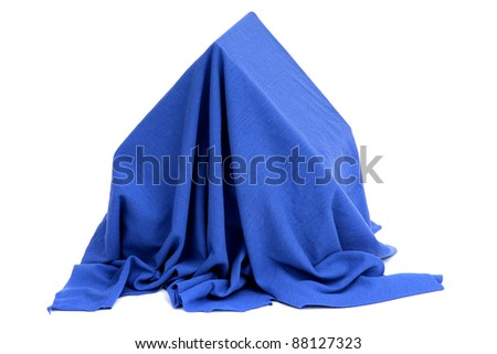 house covered with blue drapery