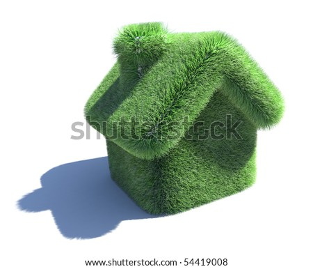 House covered with grass. 3d eco concept isolated on white