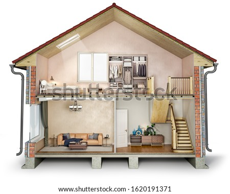 House cross section, view on bedroom, living room and hallway, 3d illustration