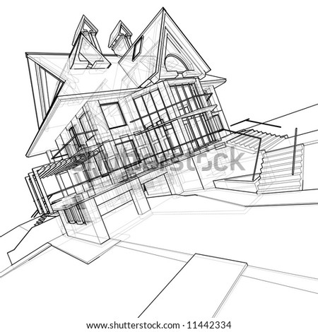 House 3d Technical Draw Stock Photo 11442334 Shutterstock