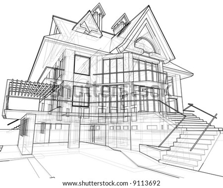 Stock Photo House D Technical Draw on house rendering