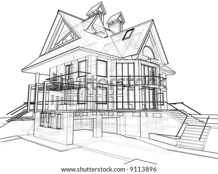 House 3d technical draw stock photo 9113896 shutterstock for 3d house drawing