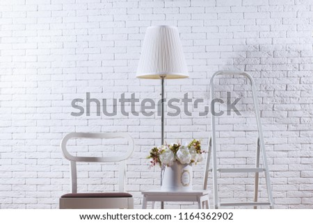 Free photos Modern white brick wall interior, green chair with frame ...