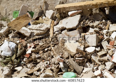 house demolition, ruins, Brihuega, Spain