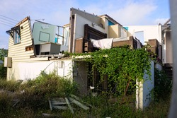 House destroyed by a cyclone in tropical North Queensland, Australia and waiting to be demolished.