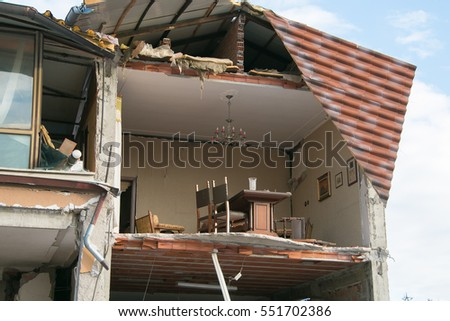 House destroyed by earthquake of Norcia