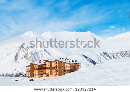 House during bright winter day